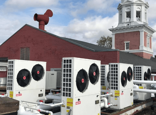 Historic Presbyterian Church with five Solstice SE heat pumps on the roof