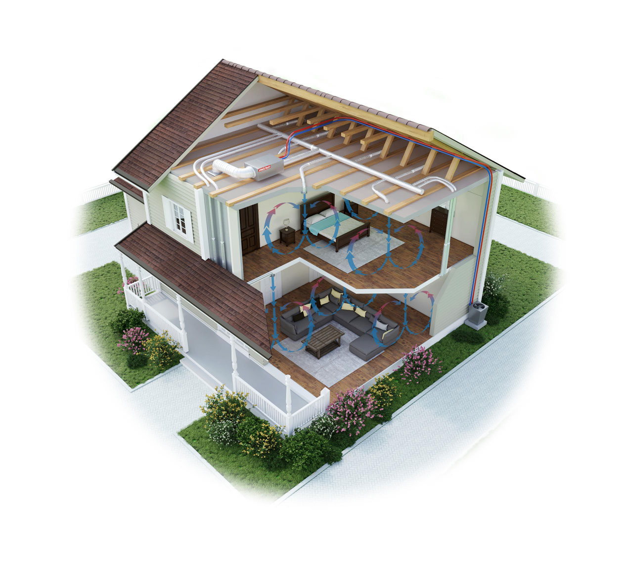 Cutaway illustration of a three story home depicting how SpacePak works