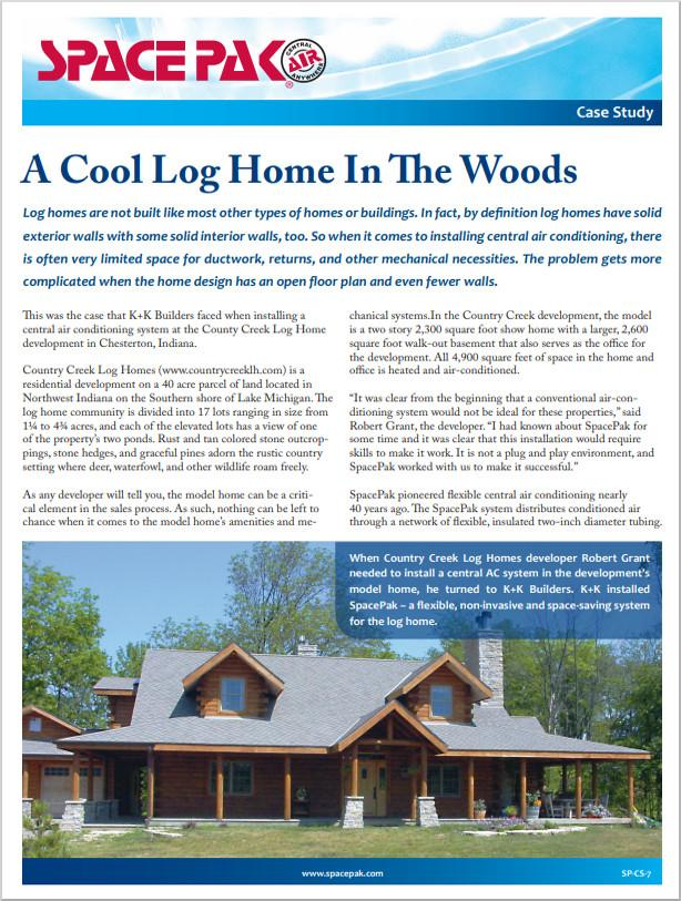 Case Study: log cabin in an open forest with a stone chimney