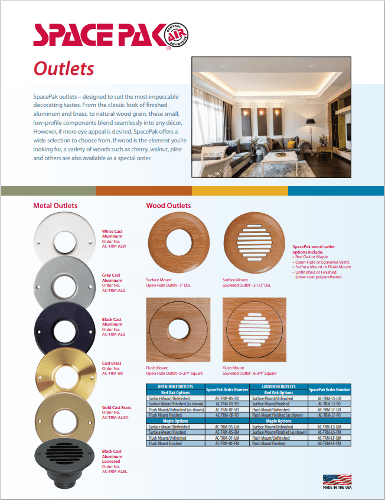 SpacePak Outlet Brochure with a variety of wood and metal options for any space